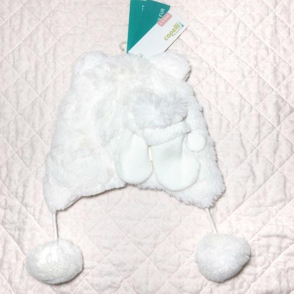 White Fur Baby Winter Hat   Gloves 15ea379fff3b